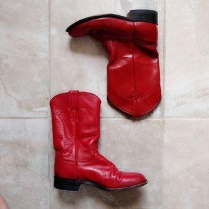 Vintage Justin Red Roper Leather Cowboy Boots 6